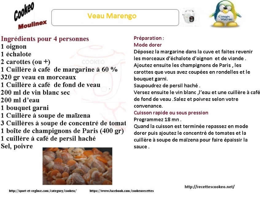 Fiche cookeo veau Marengo weight watchers