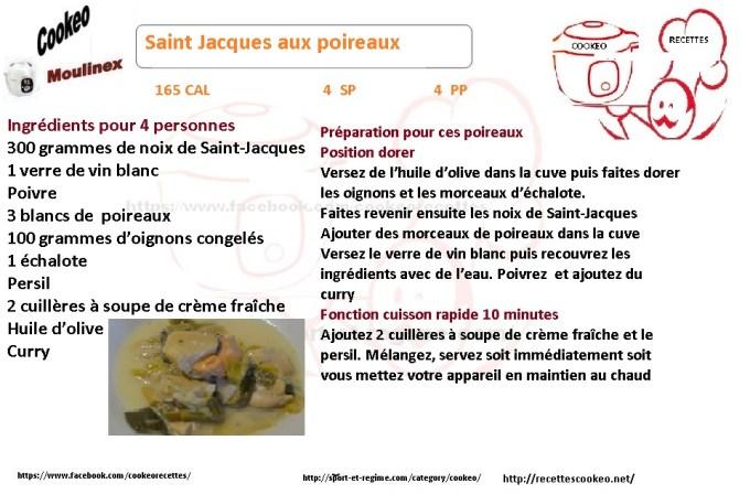Fiche cookeo diététique Saint Jacques aux poireaux