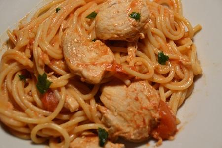 Spaghettis poulet tomates cookeo