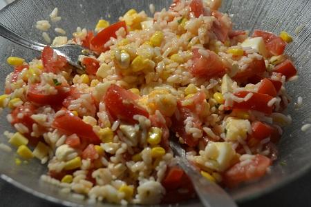 Salade composée riz tomates cookeo