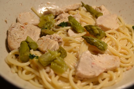 Spaghettis poulet asperges cookeo