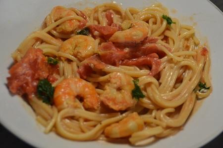 Spaghettis crevettes tomates recette cookeo