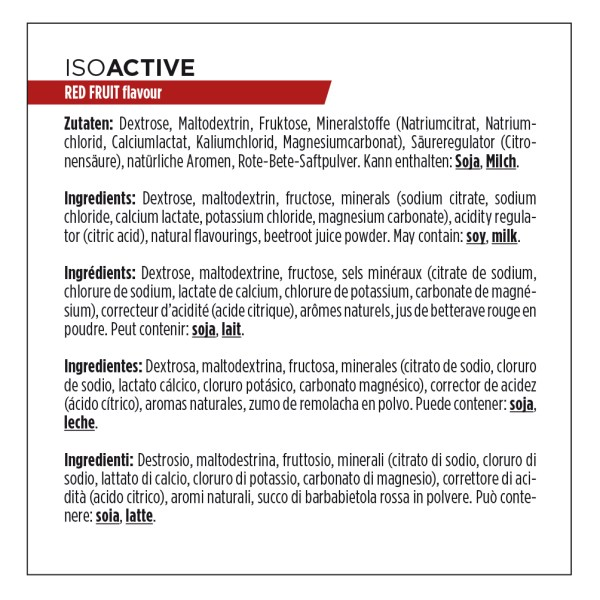 Ingrédients Isoactive
