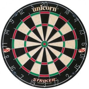 Unicorn dartbord 45 x 3,5 cm sisal zwart/wit