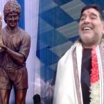 بالفيديو.. رد فعل مارادونا لحظة الكشف عن تمثال له في الهند!