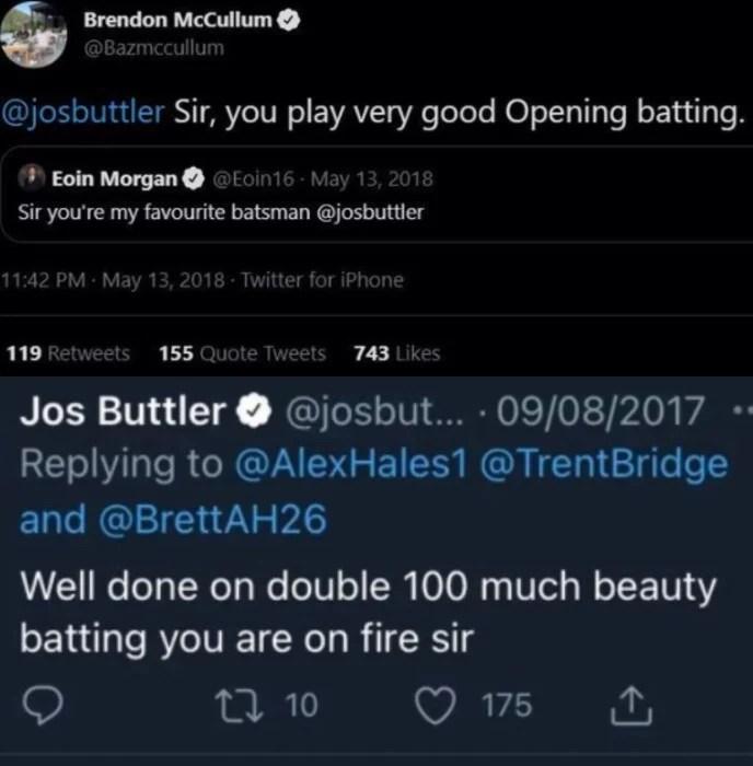 Eoin Morgan, Brendon McCullum and Jos Buttler Tweets