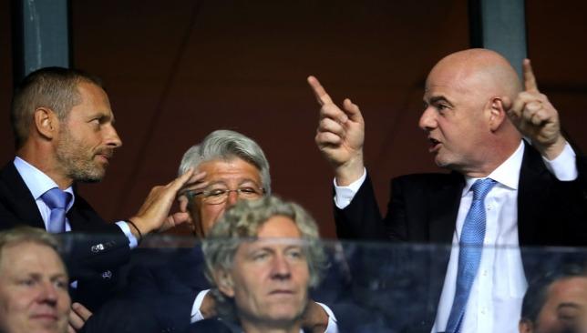 UEFA president Aleksander Ceferin and FIFA president Gianni Infantino