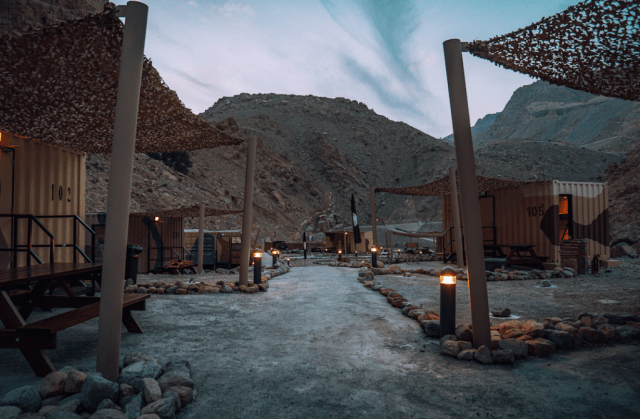 Camp at night: Guests can take part in various survival experiences