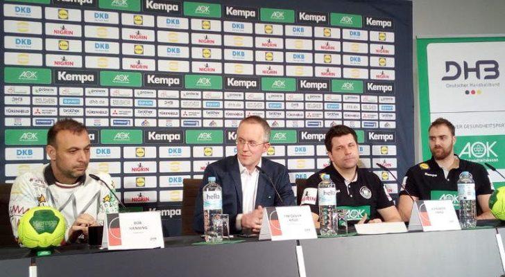 Handball WM 2019 - DHB Pressekonferenz am 16.01.2019 in Berlin nach Deutschland vs. Frankreich - (v.l.) Bob Hanning, Tim-Oliver Kalle, Alexander Haase, Andreas Wolff - Foto: SPORT4FINAL