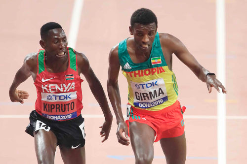 Leichtathletik WM 2019 - Conseslus Kipruto und Lamecha Girma - Foto: © Getty Images for IAAF