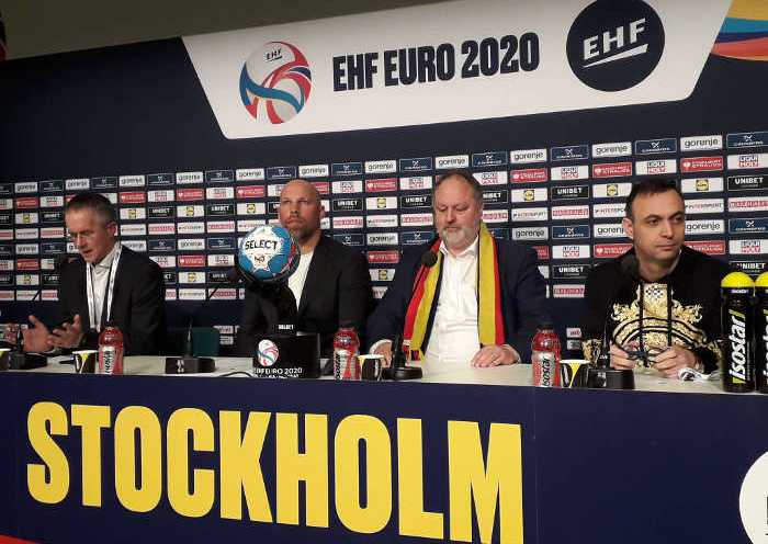 Handball EM 2020 – DHB Abschluss Pressekonferenz am 25. Januar 2020 in der Tele 2 Arena Stockholm – Bob Hanning, Andreas Michelmann, Axel Kromer, Tim Oliver Kalle (v.r.) – Copyright: SPORT4FINAL