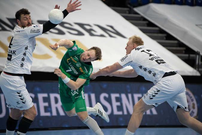 Handball Bundesliga – THW Kiel vs. SC DHfK Leipzig – Domagoj Duvnjak, Luca Witzke, Patrick Wiencek (v.l.) – Foto: Klaus Trotter