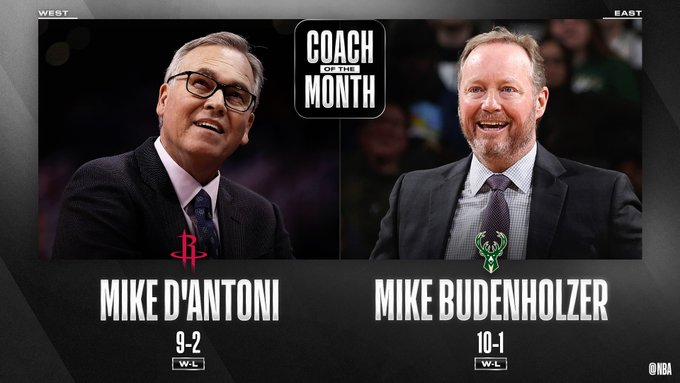 Mike D'Antoni and Mike Budenholzer named as Coach of the Month for February