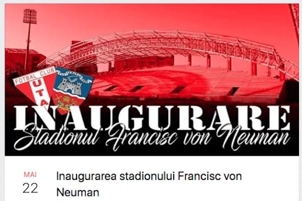 """Utiștii - la """"sărbătoarea"""" inaugurării stadionului """"Francisc Neuman"""":  """"Veniți cu chef de cântat!"""""""