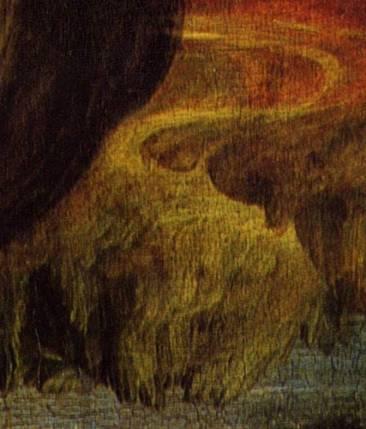 Sullo sfondo: la montagna capovolta che, a detta del 94enne, corrisponderebbe a una scimmia a quattro zampe con la coda sollevata (con la ricostruzione gialla)
