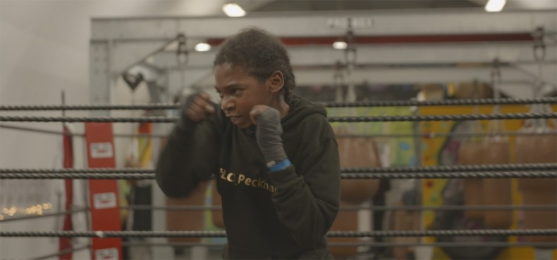 A boxer goes through a drill