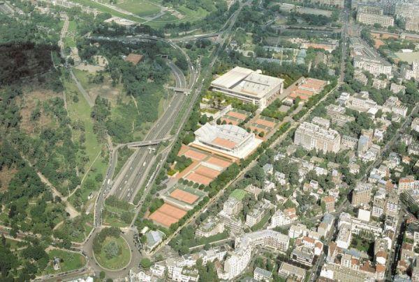 Vue aérienne du nouveau stade de Roland Garros