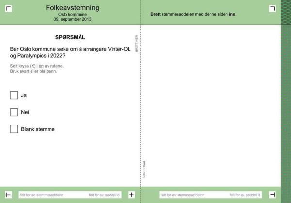 Bulletin de vote - Référendum Oslo 2022