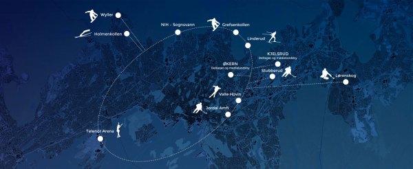 Carte des JO - Oslo 2022