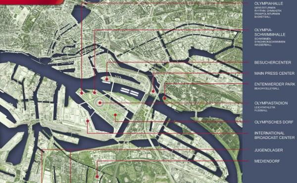 Localisation envisagée pour les principaux sites olympiques (Crédits - Hambourg 2024)
