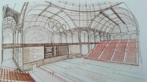 Le Grand Palais fut envisagé comme lieu des compétitions olympiques d'escrime dans le cadre de la candidature de Paris 1992 (Crédits - Archives Sport & Société / Croquis du dossier de candidature de Paris 1992)