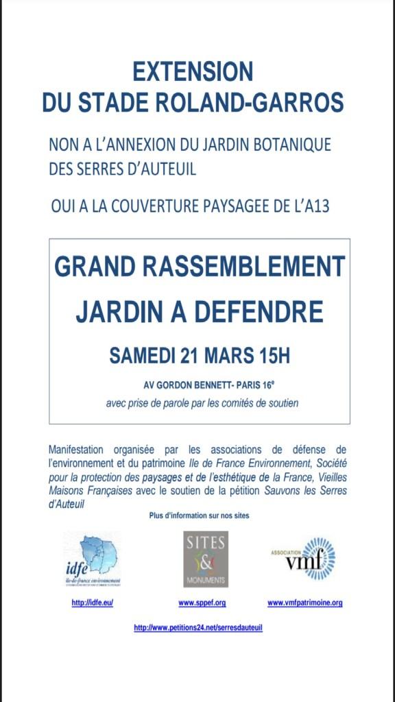 Roland Garros - mobilisation 21 mars 2015