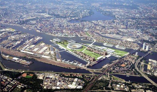 Projet de réaménagement du quartier de Kleiner Grasbrook (Crédits - DOSB / Hamburg 2024)