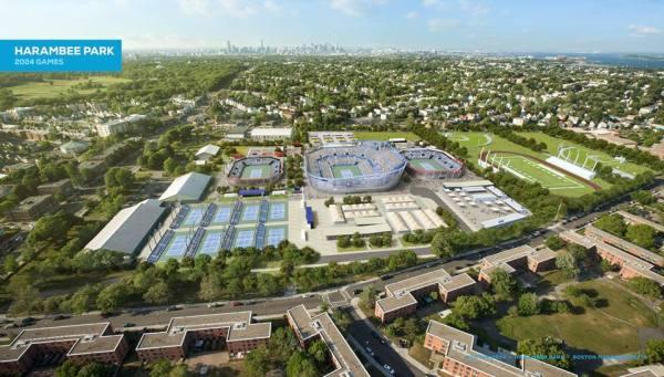 Visuel du complexe tennistique de 20 000 places. Après les Jeux, seul le Court de 2 500 places serait maintenu (à gauche), tandis qu'une partie du site (à droite) serait réaménagée (Crédits - Boston 2024)