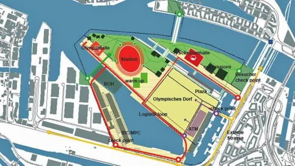 A l'inverse du plan précédent, le Centre Aquatique est ici implanté sur l'île de Kleiner Grasbrook, non loin du Village des Athlètes et du Stade Olympique (Crédits - Ville de Hambourg)