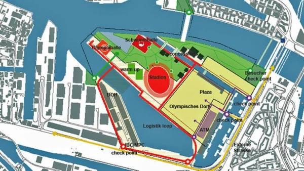 Pour cette autre option, le Stade Olympique trouve place au centre de l'île, tandis que l'aréna principale et le Centre Aquatique se font face sur la pointe de Kleiner Grasbrook (Crédits - Ville de Hambourg)