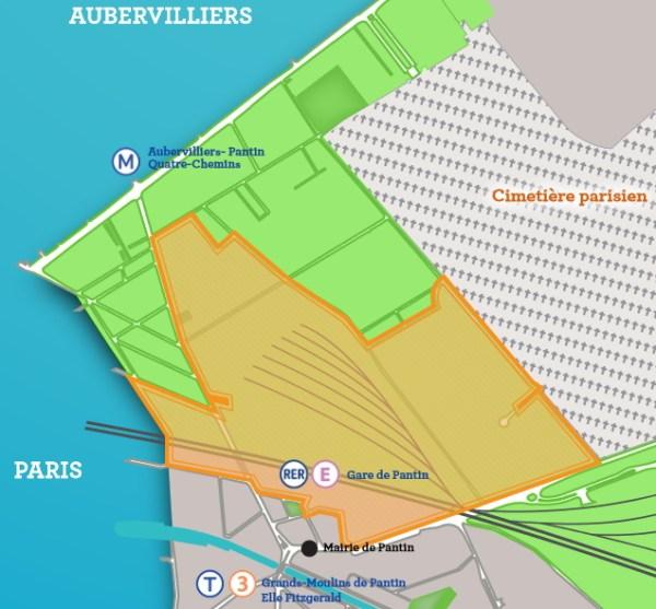 Plan de localisation du futur écoquartier (Crédits - Mairie de Pantin)