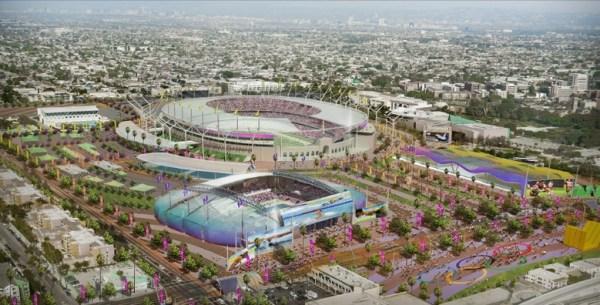 Visuel du Downtown Cluster, avec au premier plan, le Centre Aquatique, et au second plan, le Stade Olympique (Crédits - Los Angeles 2024)