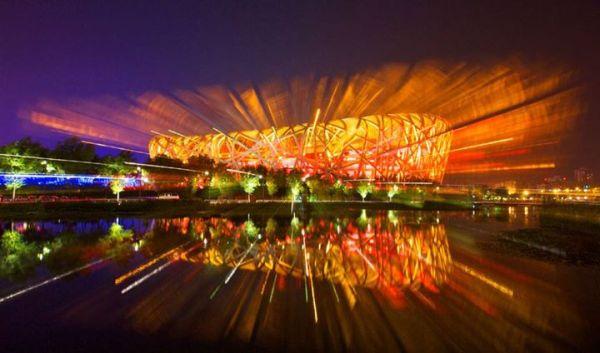 Vue nocturne du Nid d'Oiseau, Stade Olympique de Pékin (Crédits - Pékin 2022)