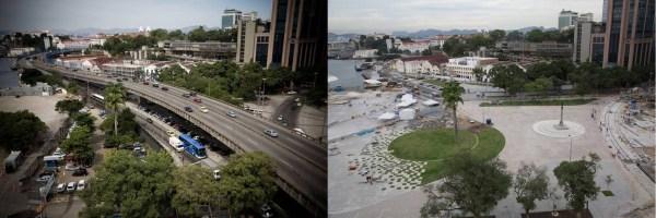 Montage avant / après concernant l'un des quartiers réaménagés de Rio de Janeiro (Crédits - Cidada Olimpica)