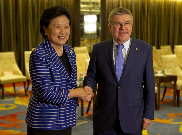 Thomas Bach et Liu Yandong, vice-Premier Ministre (Crédits - CIO / Greg Martin)