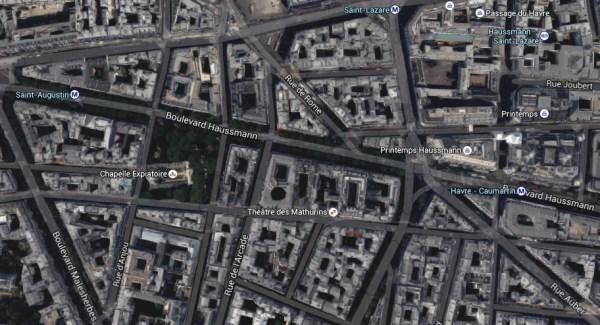 Le Boulevard Haussmann, connu pour ses grands magasins, se situe non loin de la Gare Saint-Lazare (Crédits - Capture d'écran Google Maps / Sport & Société)
