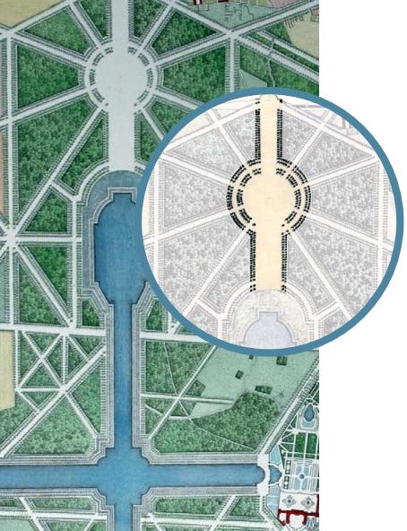 Représentation de l'Étoile Royale à l'extrémité du Grand Canal (Crédits - Château de Versailles)