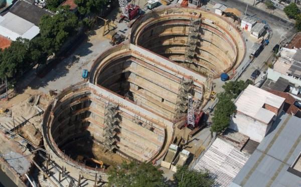 Vue des réservoirs en construction, fin 2014 (Crédits - Cidade Olimpica)