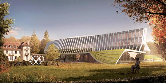 Visuel de la future Maison Olympique, avec sur le côté gauche, le Château de Vidy où travaille le Président du CIO (Crédits - CIO / 3XN)