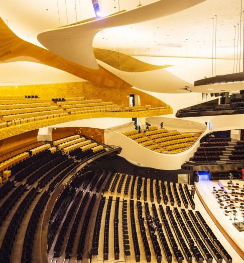 Vue intérieure de la Grande Salle de la Philharmonie de Paris (Crédits - Philharmonie / W. Beaucardet)
