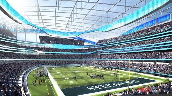 Visuel du terrain et des tribunes du futur stade des Rams de Los Angeles (Crédits - NFL / Rams / HKS)