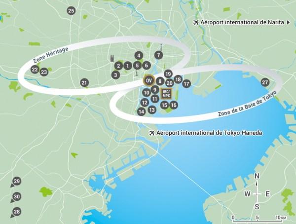 Plan des Jeux d'été de 2020, avec le Village Olympique localisé au centre (Crédits - Tokyo 2020)