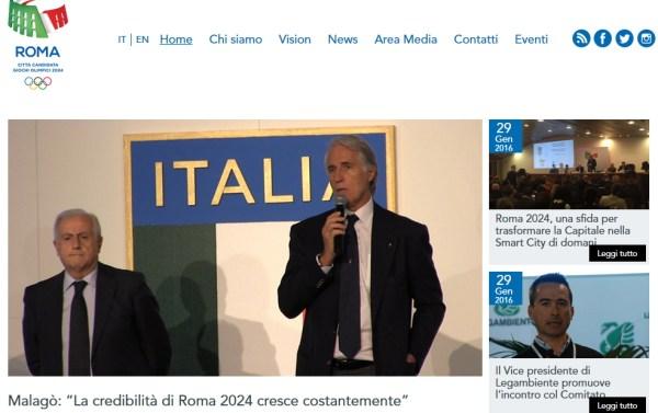 Page d'accueil du site officiel de Rome 2024 (Crédits - Capture d'écran / Sport & Société)