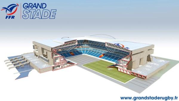 Outre un toit amovible, le Grand Stade serait également équipé d'une pelouse rétractable (Crédits - FFR / Grand Stade de rugby)