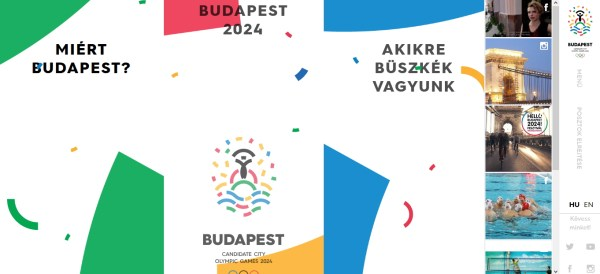 Page d'accueil du site officiel de la candidature hongroise (Crédits - Budapest 2024)