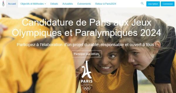 Capture d'écran de la plate-forme de concertation de Paris 2024 (Crédits - Sport & Société / Paris 2024)
