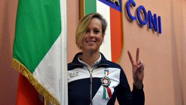 Federica Pellegrini au siège du Comité Olympique Italien (Crédits - CONI / Roma 2024)