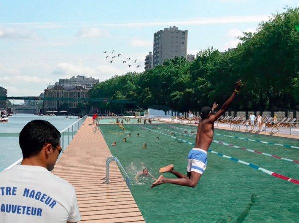 Visuel des aménagements pour la baignade à La Villette (Crédits - Anne Hidalgo / Page Twitter)
