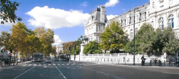 Visuel du futur tram-bus au niveau de l'Hôtel de Ville (Crédits - Mairie de Paris)