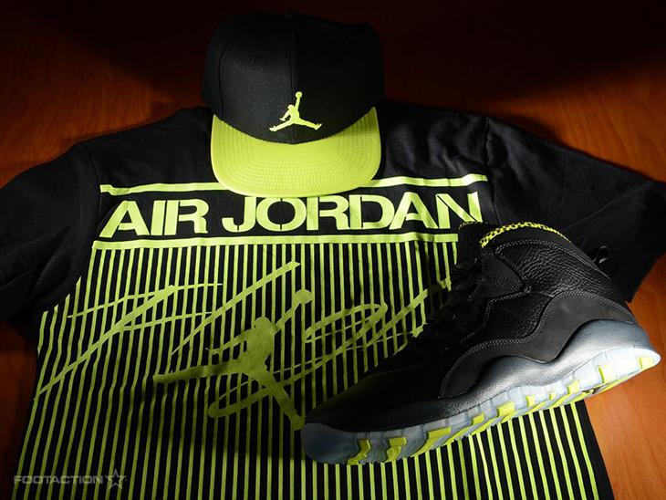 """504ea1e5b8a Style Hook: Air Jordan 10 """"Venom Green"""" x Jordan Colossal Flight Tee x  Jordan Jumpman True Cap"""